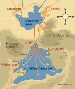 Walchensee Wind, so wehen die Winde für Windsurfer und Kitesurfer
